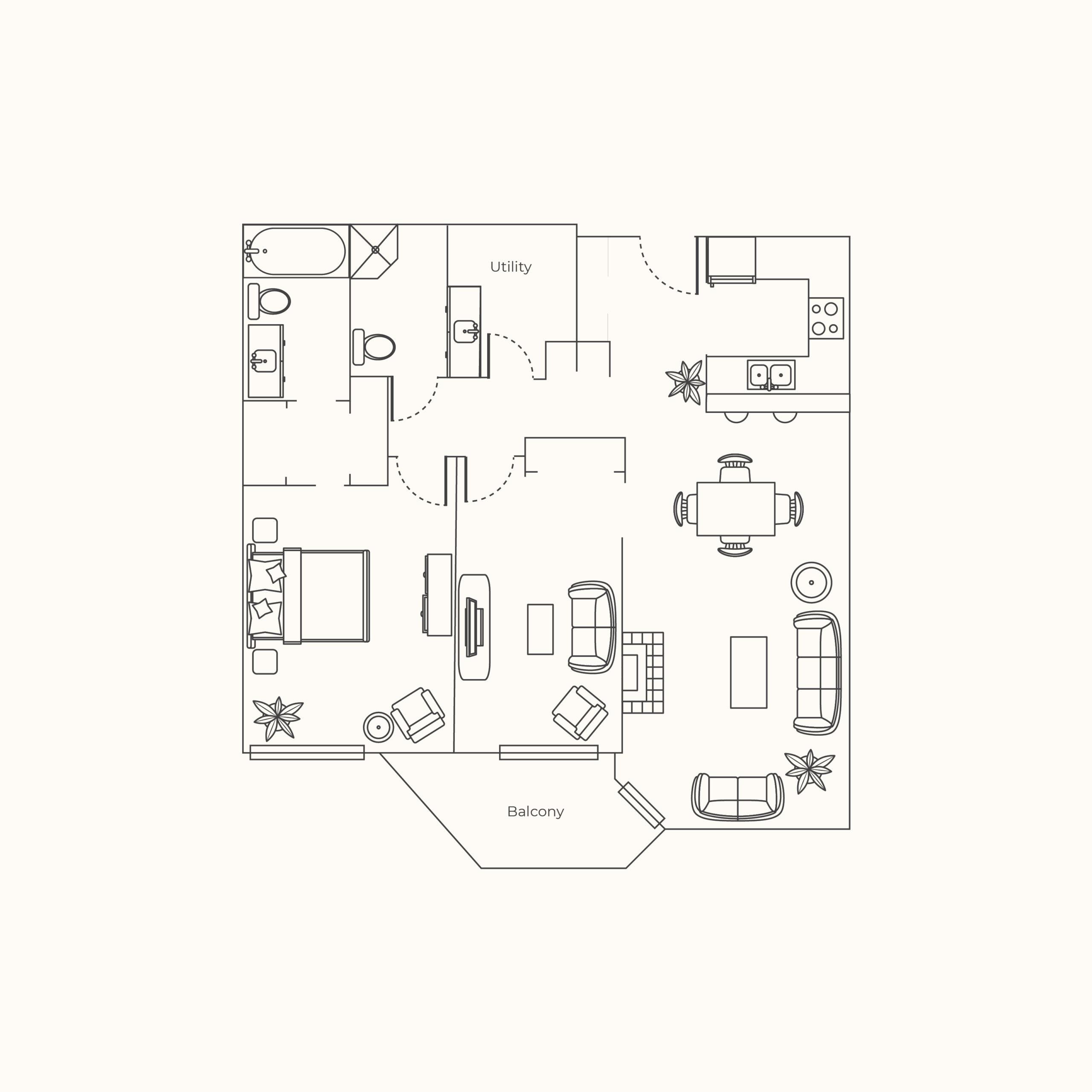 Plan B - One Bedroom + Den