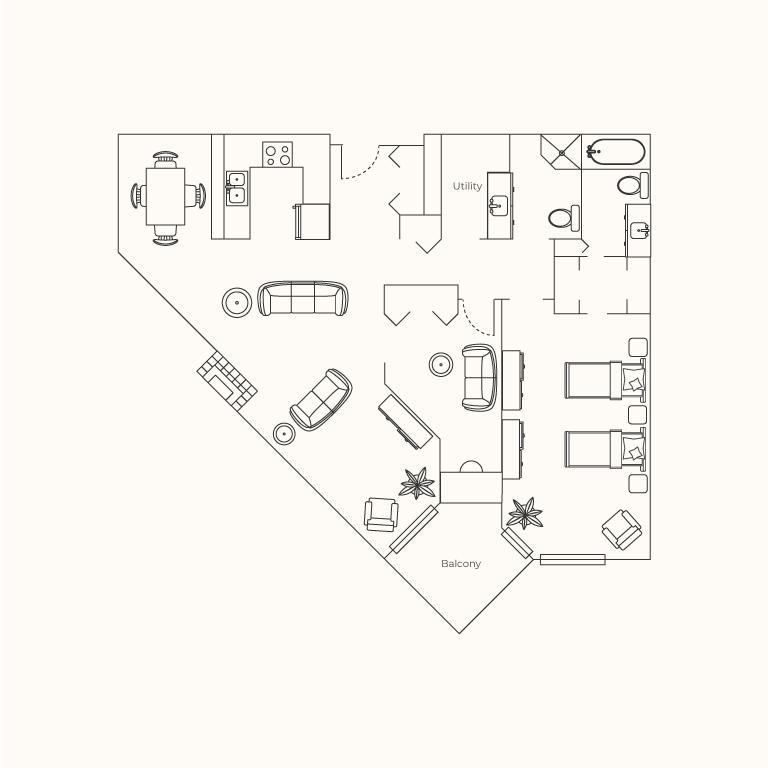 Plan D - One Bedroom + Den