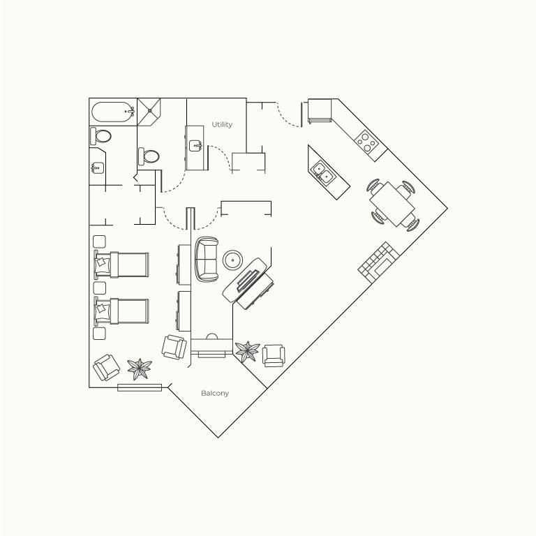 Plan E - One Bedroom + Den