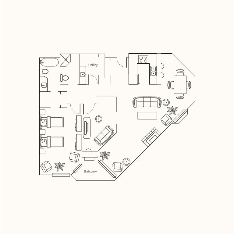 Plan F - One Bedroom + Den