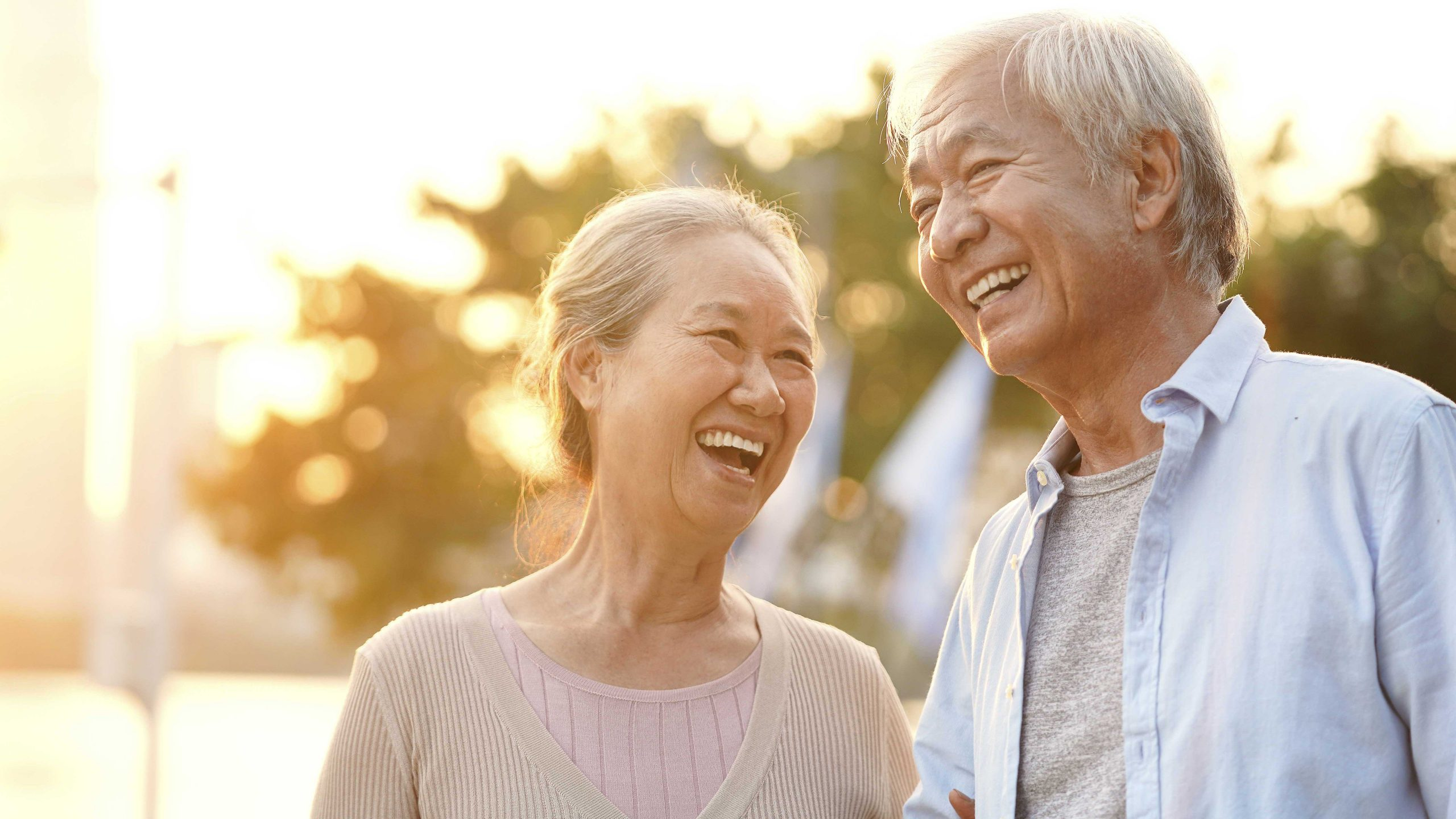 Happy Seniors Couple Laughing in the Sunshine